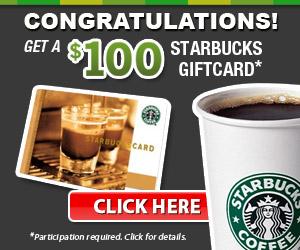 $100 Starbucks Card